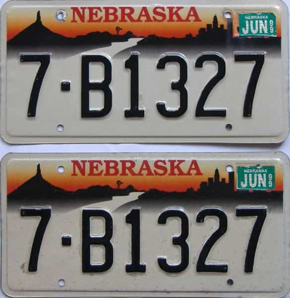 1999 NE (Pair) license plate for sale