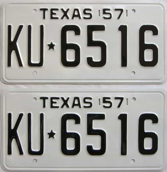 RESTORED 1957 Texas (Pair) license plate for sale