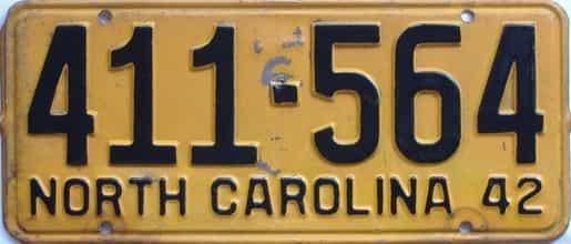 1942 North Carolina (Single) license plate for sale