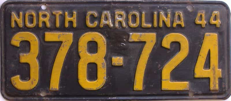 1944 NC license plate for sale