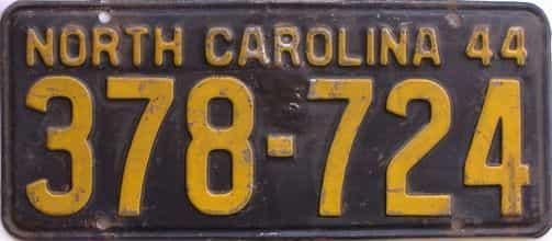 1944 North Carolina license plate for sale