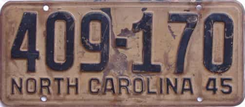 1945 North Carolina license plate for sale