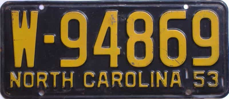 1953 NC license plate for sale