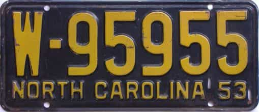 1953 North Carolina license plate for sale