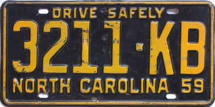 1959 North Carolina (Truck) license plate for sale
