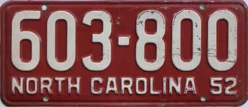 1952 North Carolina license plate for sale