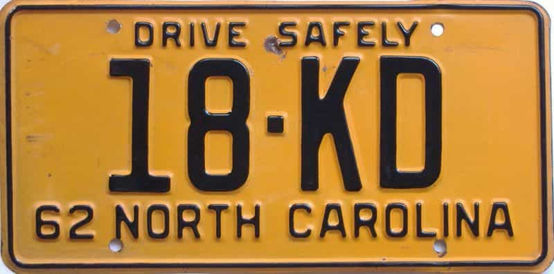 1962 NC (Truck) license plate for sale