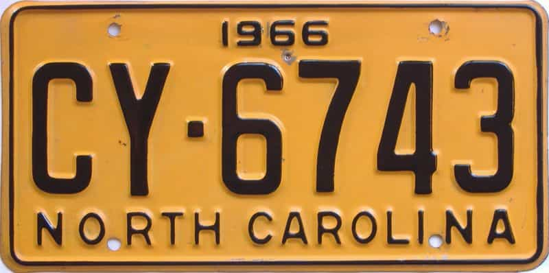 1966 North Carolina license plate for sale