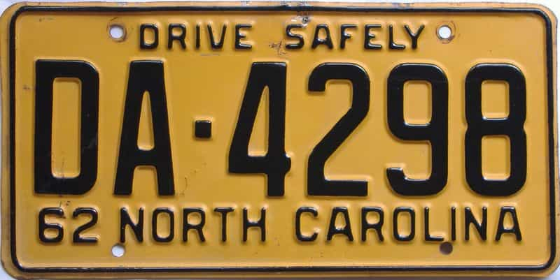 1962 NC (Relettered) license plate for sale
