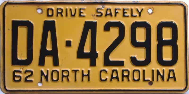 1962 North Carolina (Relettered) license plate for sale