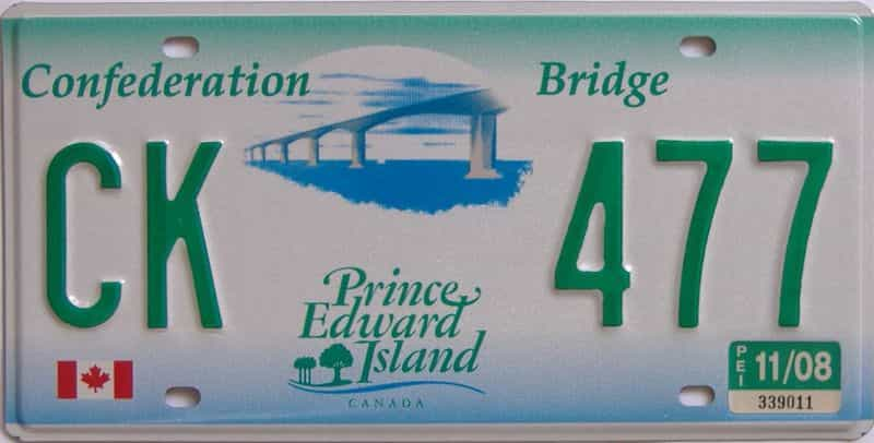 2008 PEI (Single) license plate for sale