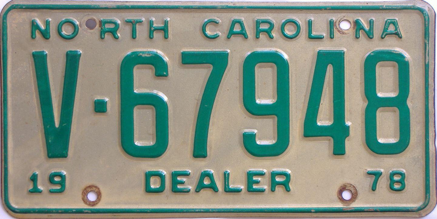 1978 North Carolina (Dealer) license plate for sale