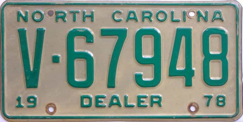 1978 North Carolina (Dealer) license plate for sale