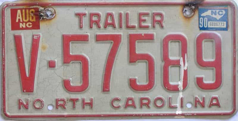 1990 North Carolina (Trailer) license plate for sale