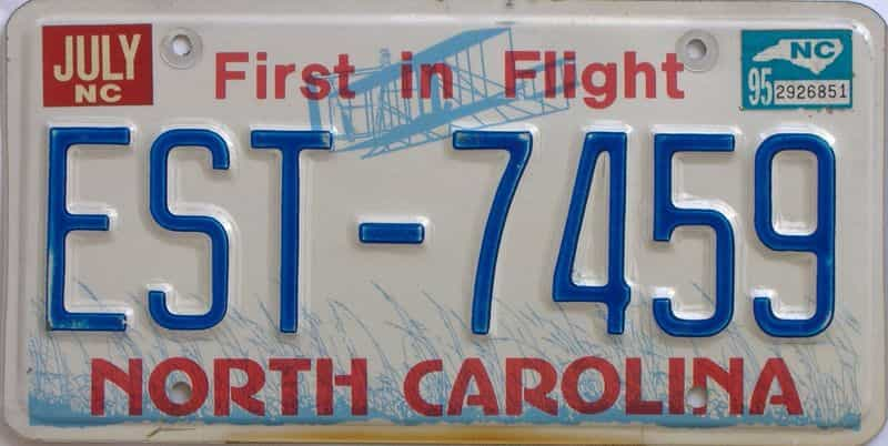 1995 North Carolina license plate for sale