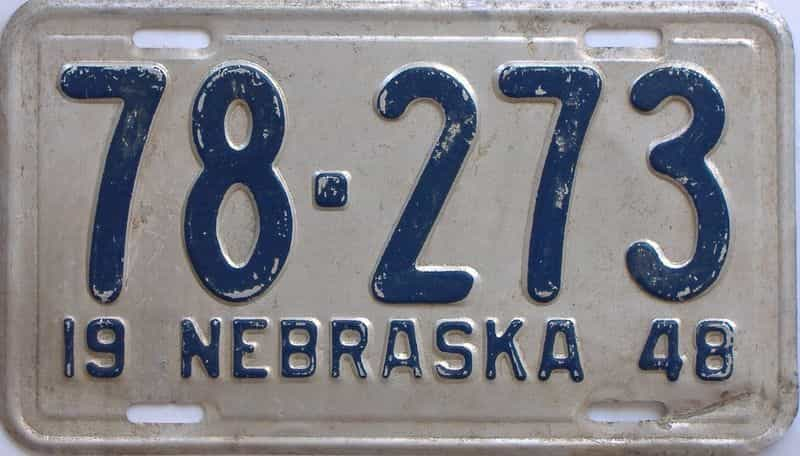 1948 Nebraska (Single) license plate for sale