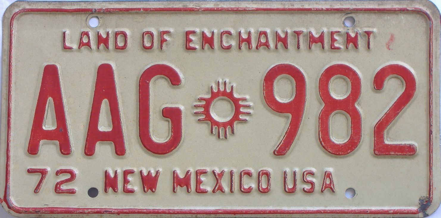 1972 New Mexico license plate for sale