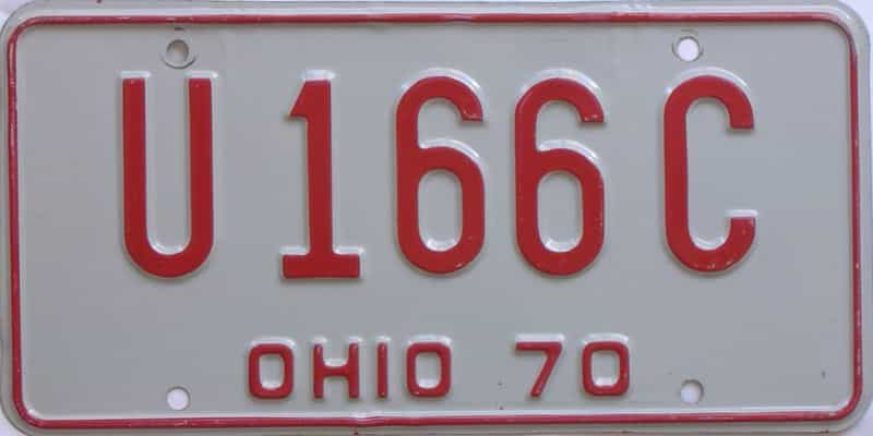1970 Ohio (Single) license plate for sale