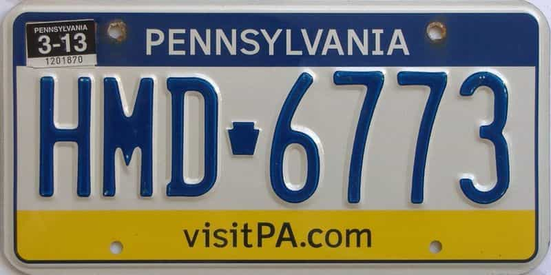 2013 Pennsylvania license plate for sale