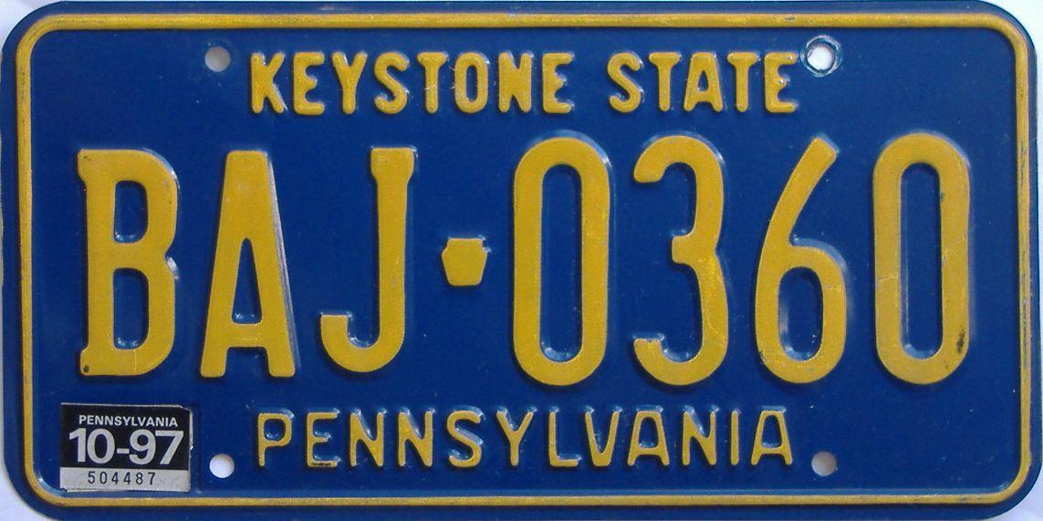 1997 Pennsylvania license plate for sale