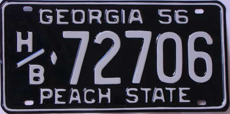YOM RESTORED 1956 GA license plate for sale