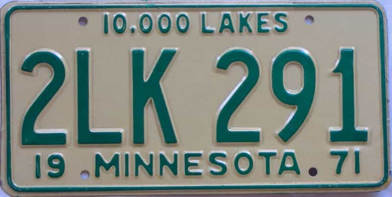 1971 MN (Single) license plate for sale