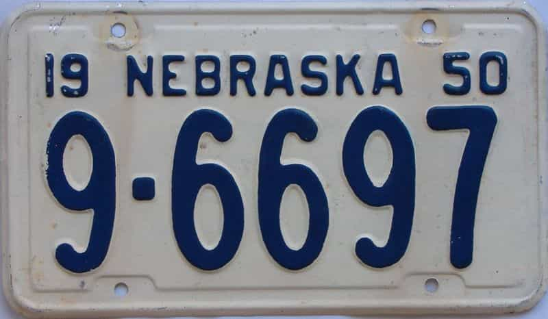 1950 NE (Single) license plate for sale