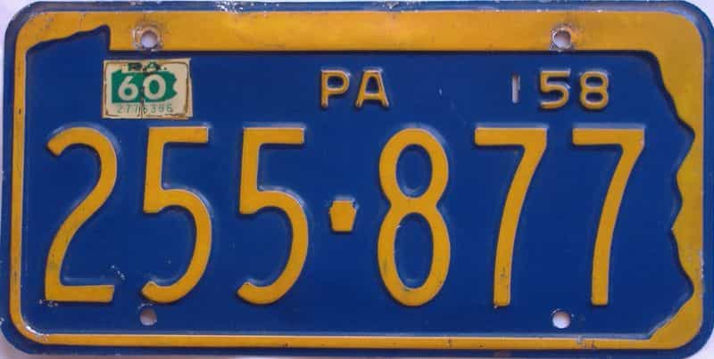 1960 Pennsylvania license plate for sale