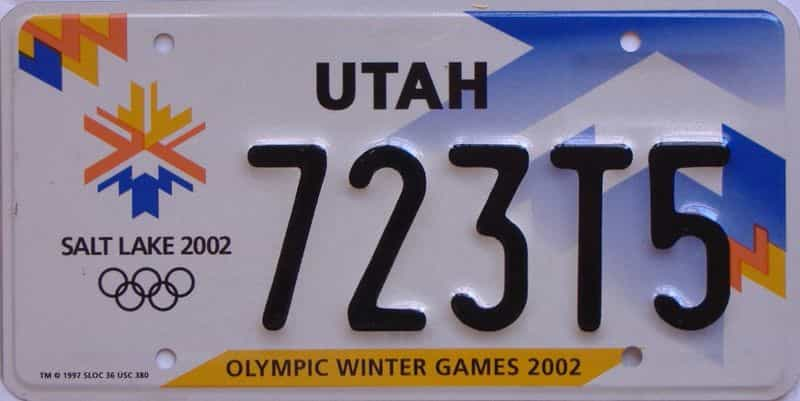 2002 UT (Single) license plate for sale