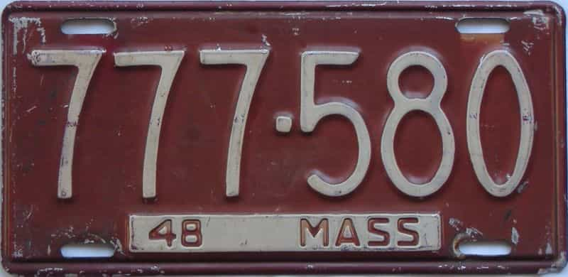 1948 MA license plate for sale