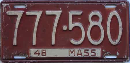 1948 Massachusetts license plate for sale