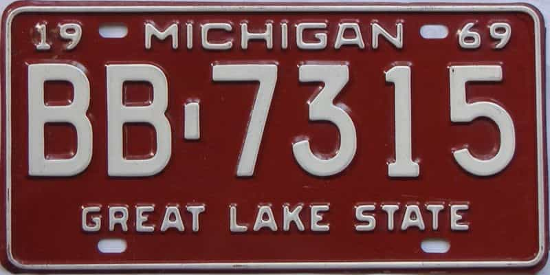 1969 Michigan (Single) license plate for sale