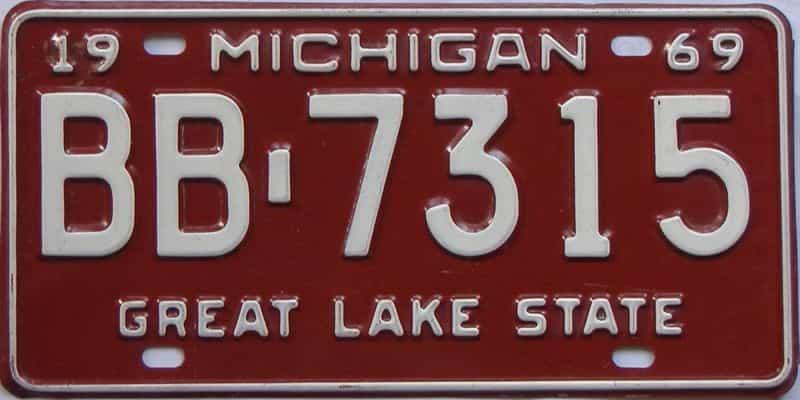 1969 MI (Single) license plate for sale