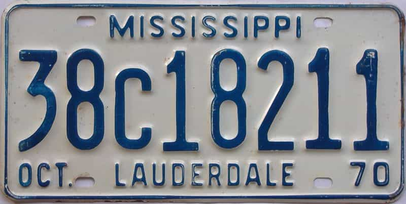 1970 Mississippi license plate for sale