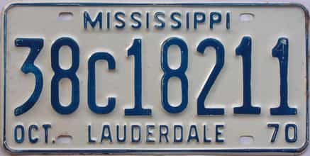 1970 Mississippi license plate for sale