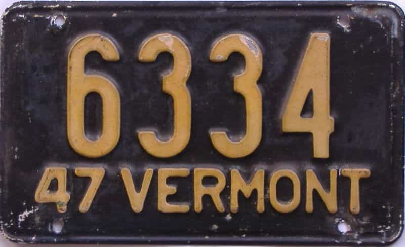 1947 Vermont (Single) license plate for sale