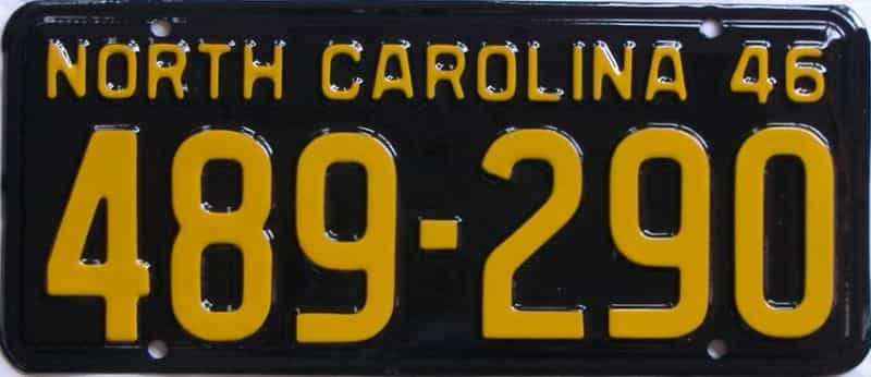 RESTORED 1946 North Carolina license plate for sale