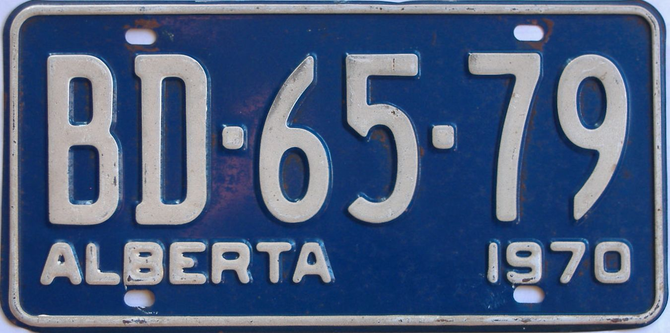 1970 Alberta (Single) license plate for sale
