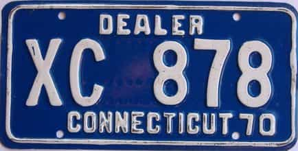 1970 Connecticut (Dealer) license plate for sale