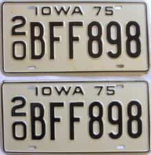 1975 Iowa  (Pair) license plate for sale
