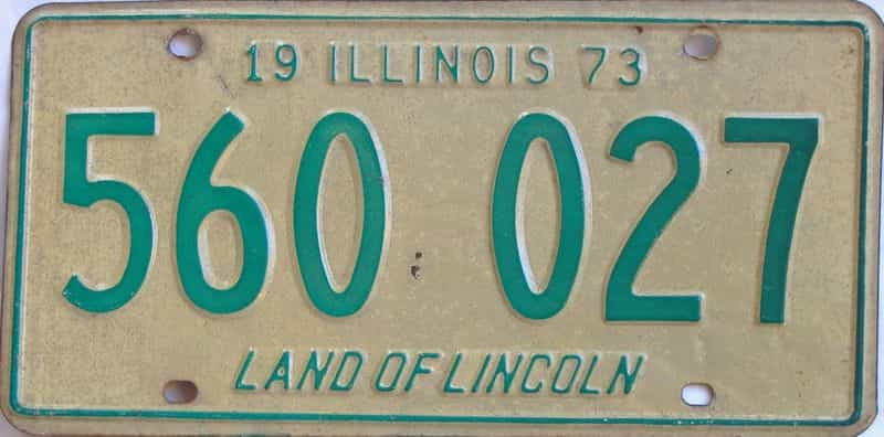1973 Illinois  (Single) license plate for sale