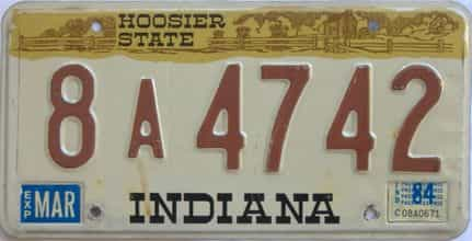 1984 Indiana license plate for sale