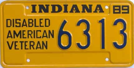 1989 Indiana license plate for sale