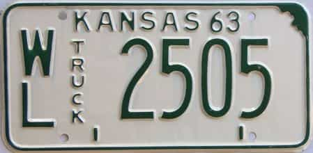 1963 Kansas (Truck) license plate for sale