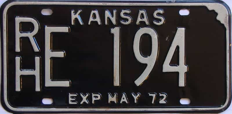 1972 Kansas license plate for sale