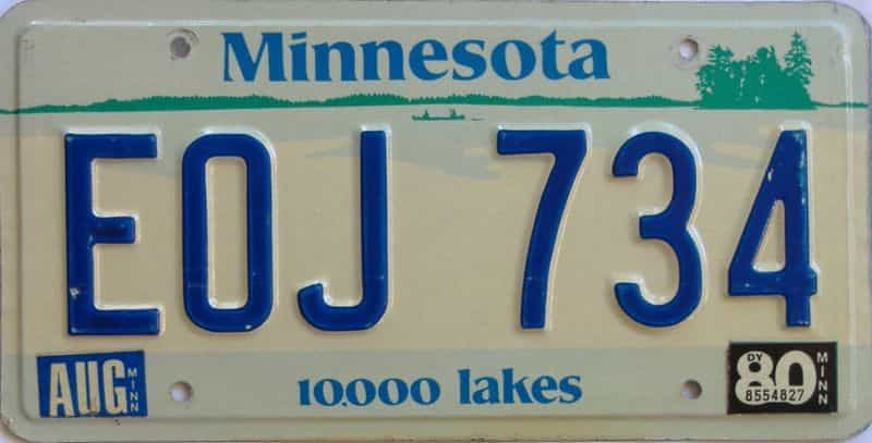 1980 MN (Single) license plate for sale