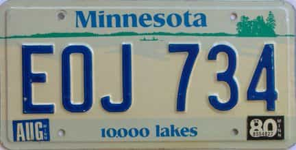 1980 Minnesota (Single) license plate for sale