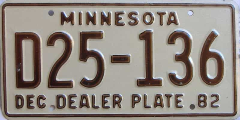 1982 MN (Dealer) license plate for sale