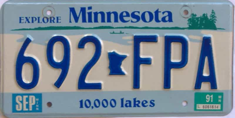 1991 MN (Single) license plate for sale