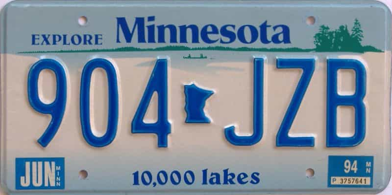 1994 MN (Single) license plate for sale